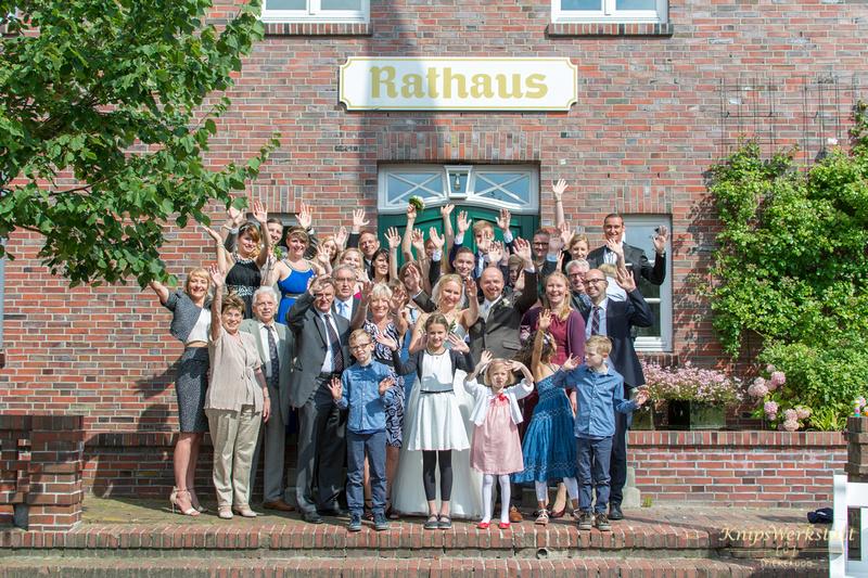 Hochzeitsgruppenfoto Spiekeroog